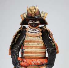 Armor with large shoulder guards, covered with kin-kozane gild small scales laced with light-red and yellow-white threads